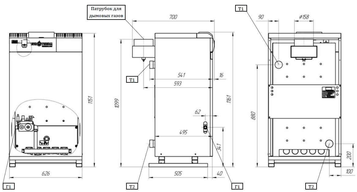 Габаритные и присоединительные размеры газового котла Колви КТН 50 СР