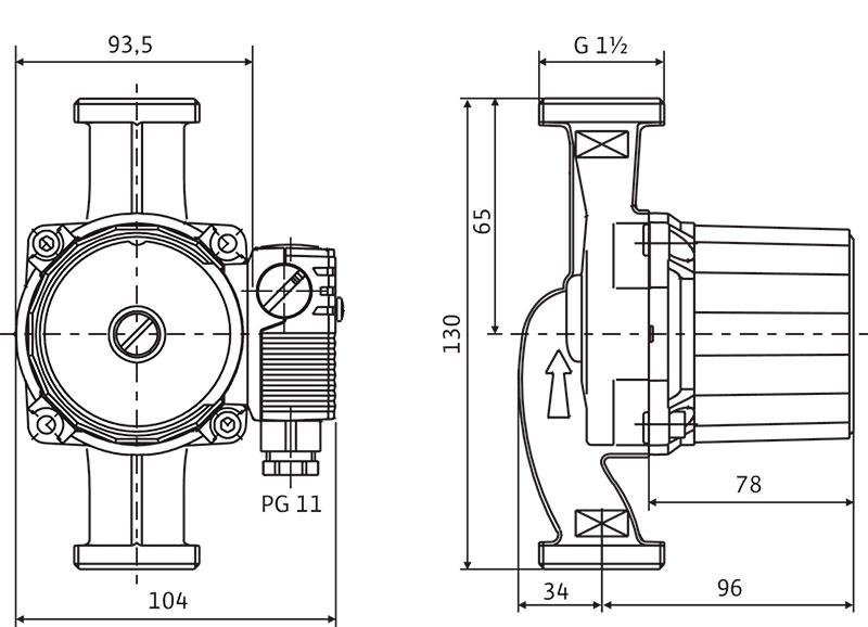Габаритные размеры насоса Wilo Star RS 25/4-130