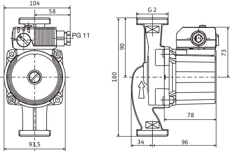 Габаритные размеры насоса Wilo Star RS 30/4