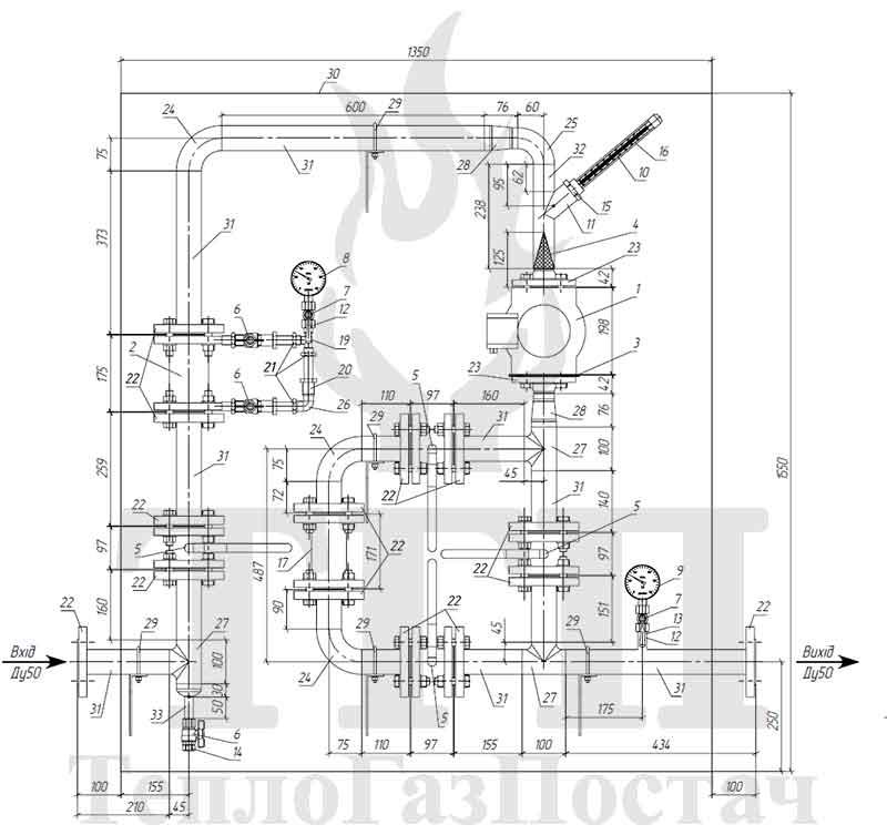 Схема узла учета объема газа УУГ-КВР-1.02-G16-40