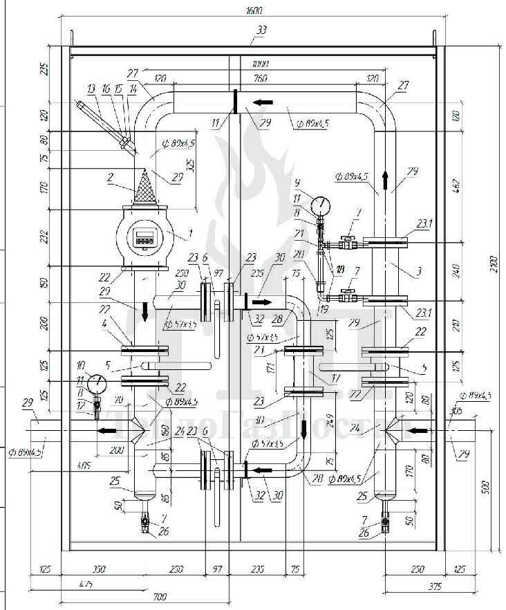 Схема узла учета объема газа УУГ-КВР-1.01-G100-80