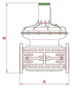 Габаритные размеры регуляторов газа RG/2MC DN25 - DN100