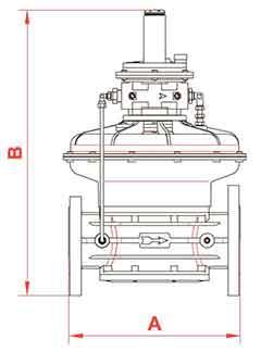 Габаритные размеры регуляторов газа RG/2MC с пилотом DN65 - DN100