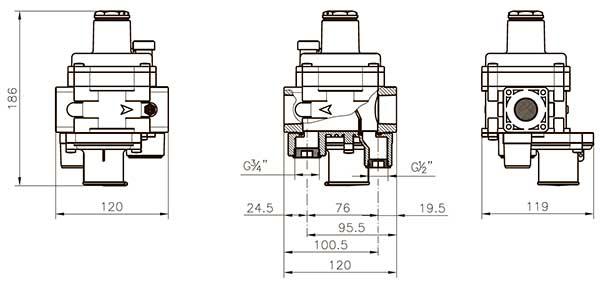 Габаритные размеры регулятора давления газа Madas FRG/2MBCZ