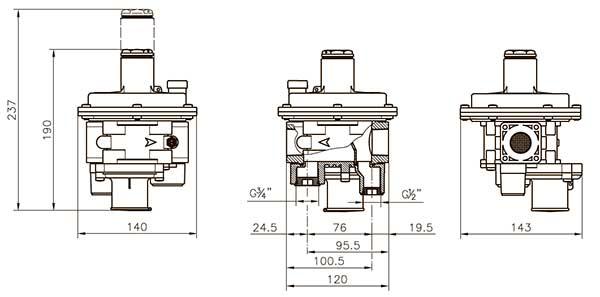 Габаритные размеры регулятора давления газа Madas FRG/2MBZ