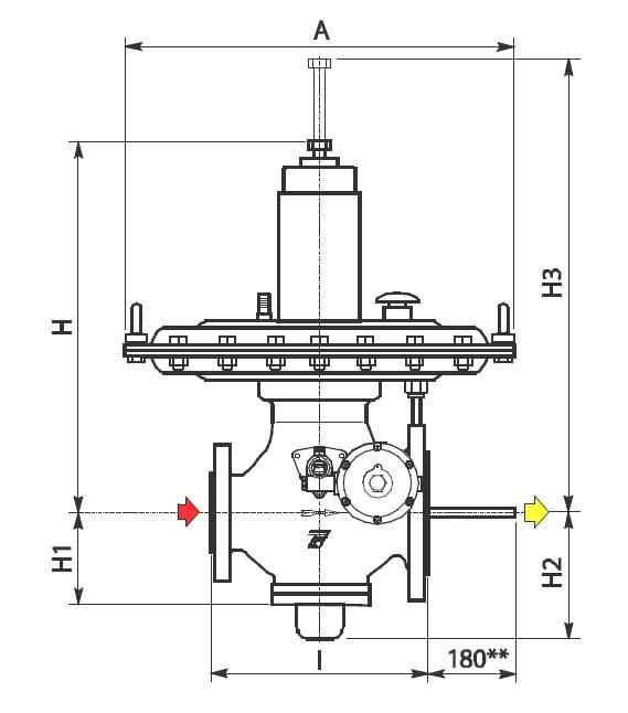 Габаритные размеры и вес регуляторов давления газа Tartarini MBN/65-APA