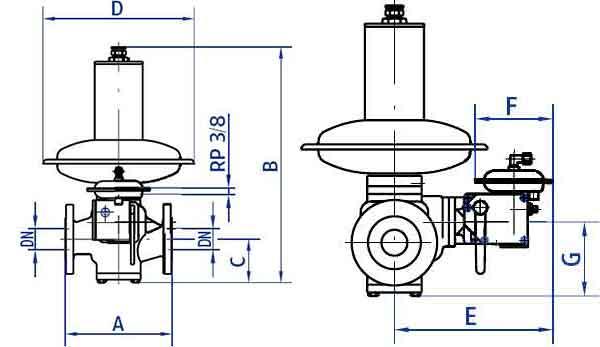 Габариты и вес регуляторов Actaris RBE 4032 DN25-80