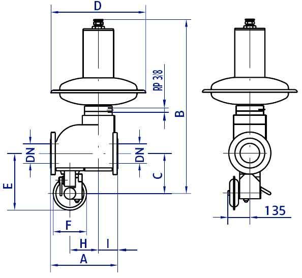 Габариты и вес регуляторов Actaris RBE 4022 DN100