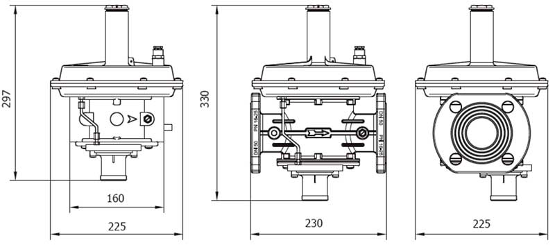 Габаритные размеры регулятора Madas RG/2MBZ DN 32