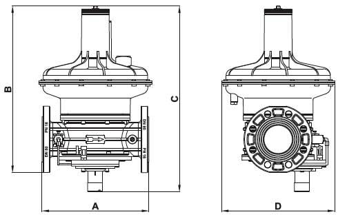 Габаритные размеры регулятора Madas RG/2MBZ DN 100