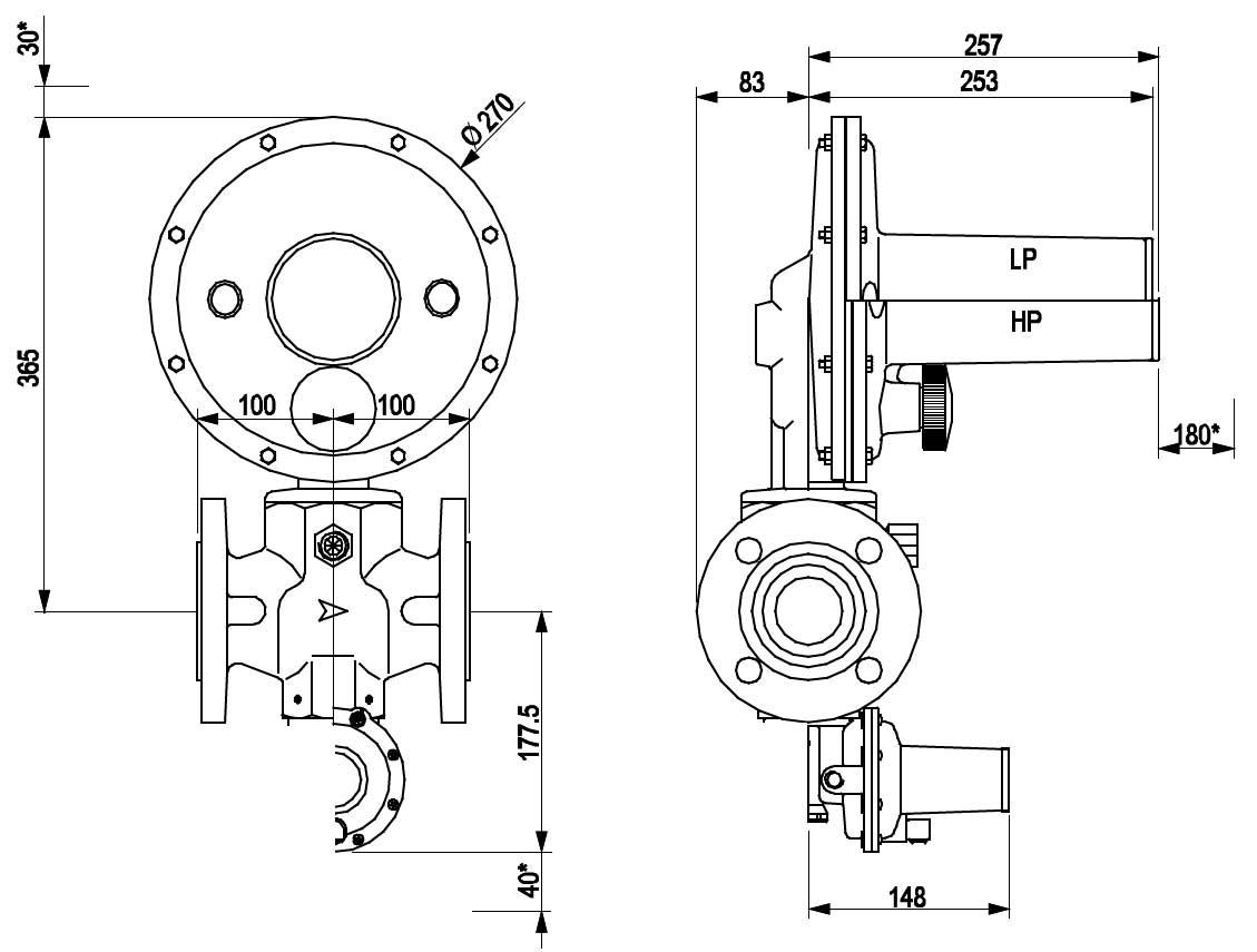 Габаритные размеры регулятора давления газа Tartarini Regal 3 HP