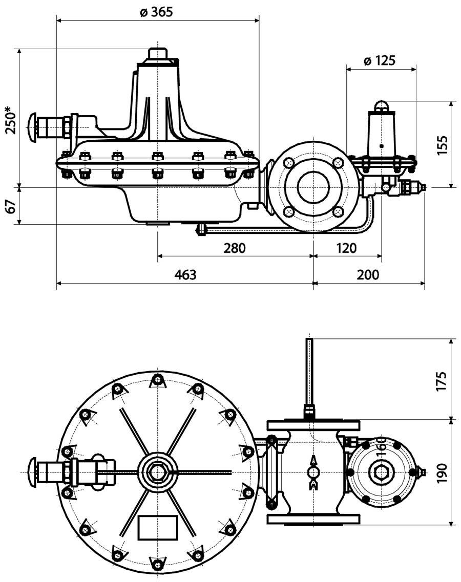 Габаритные размеры регулятора давления газа Tartarini A 149