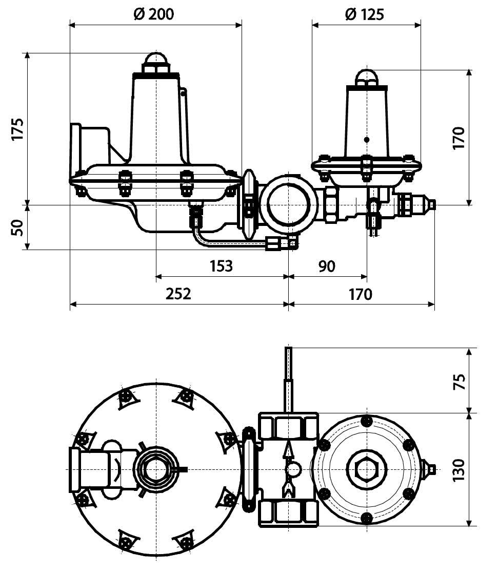 Габаритные размеры регулятора давления газа Tartarini B 249