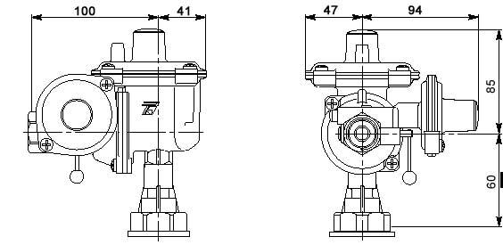 Габаритные размеры газового регулятора Tartarini R25
