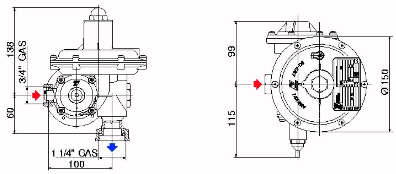 Габаритные размеры регулятора давления газа Tartarini R 70 AP