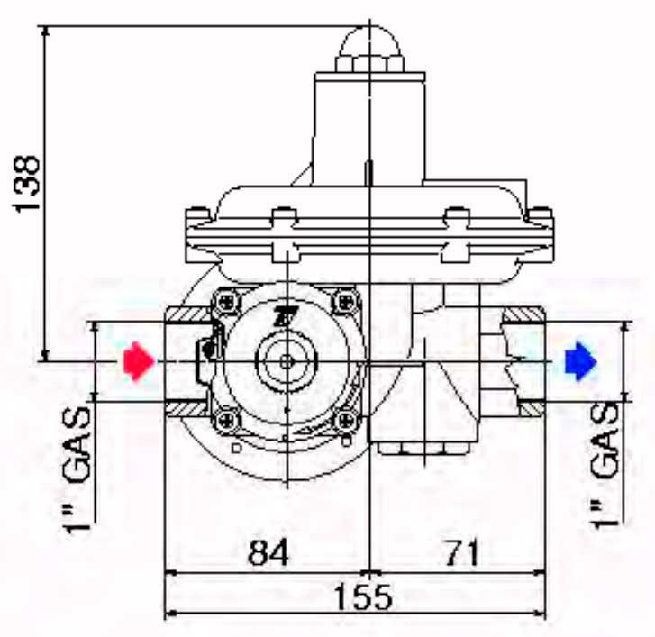 Габаритные размеры регулятора давления газа Tartarini R 72
