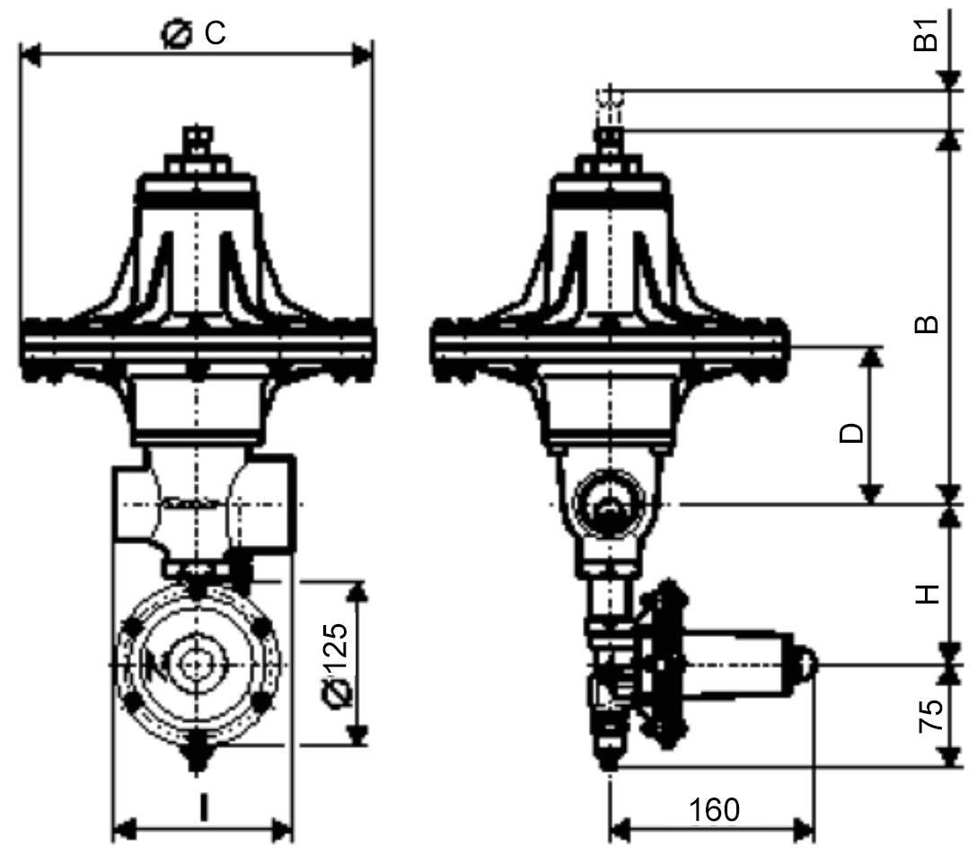 Габаритные размеры регулятора давления газа Tartarini RP/033-AP