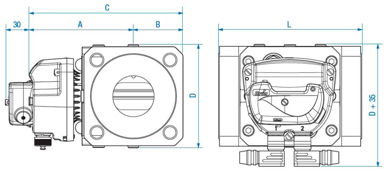 Габаритные размеры и вес счетчиков газа Delta Compact G25 DN40