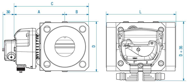 Габаритные размеры и вес счетчиков газа Delta G65 DN80