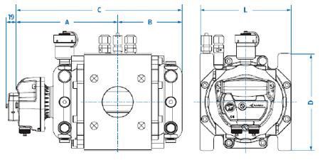 Габаритные размеры и вес счетчиков газа Delta S3F G400 DN150