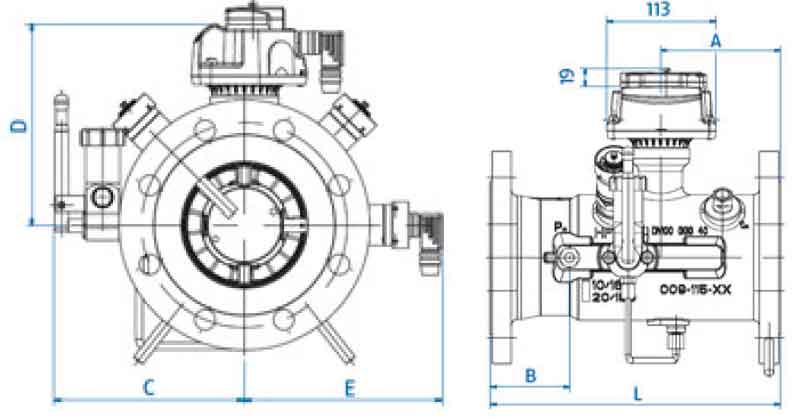 Габаритные размеры счетчика газа TZ Fluxi G250 DN80