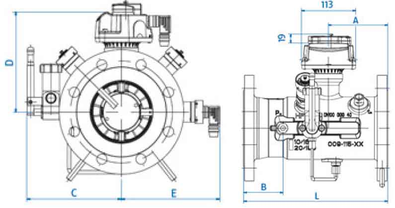 Габаритные размеры счетчика газа TZ Fluxi G2500 DN250