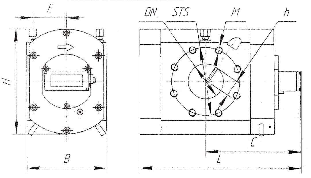 Габаритные и присоединительные размеры счетчика газа GMS G65