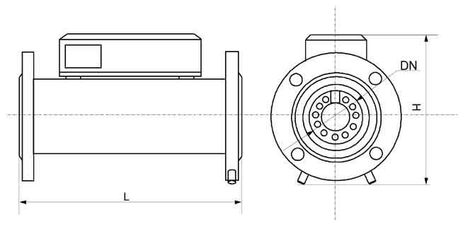 Общий вид, габаритные, присоединительные размеры и масса счётчиков Курс-01 G400А DN150