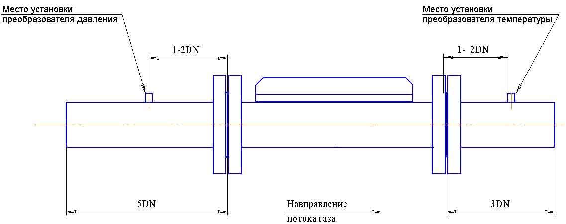 Схема установки счетчика газа Курс-01 G250А DN150 на трубопровод
