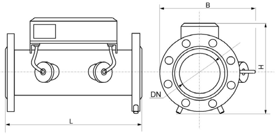 Общий вид, габаритные, присоединительные размеры и масса счётчиков Курс-01 G160Б
