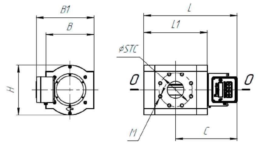 Габаритные и присоединительные размеры комплекса измерительного КВР-1.02-G16-40