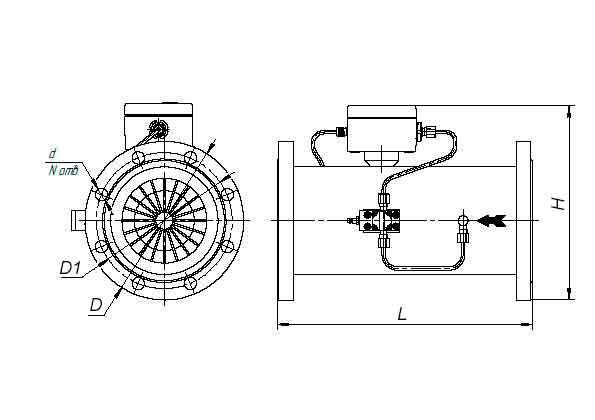 Габаритные и присоединительные размеры комплекса измерительного КВТ-1.01А-G250-100
