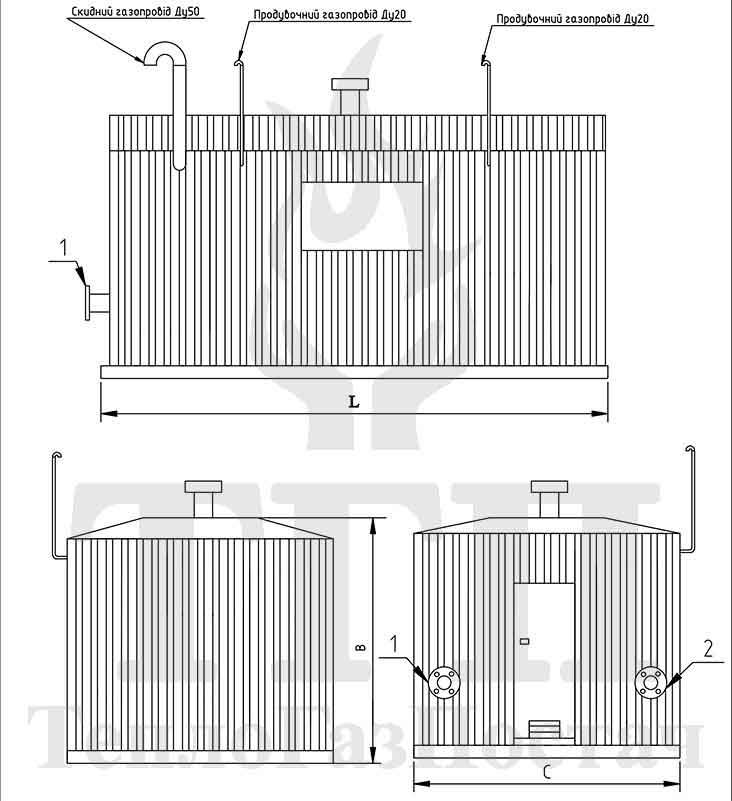 Габаритные размеры ГРПБ-В-01-(В)У-РДГ-50
