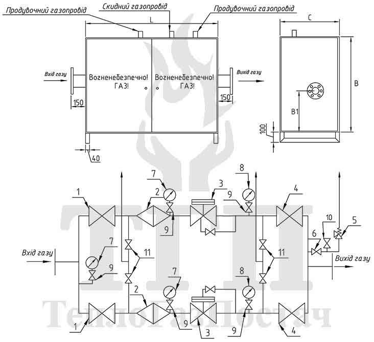 Принципиальная схема ШГРП-2-РДГ80