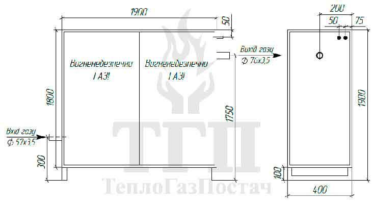 Габаритные размеры шкафного газорегуляторного пункта ШГРП-1Б-Pietro Fiorentini-Fex75