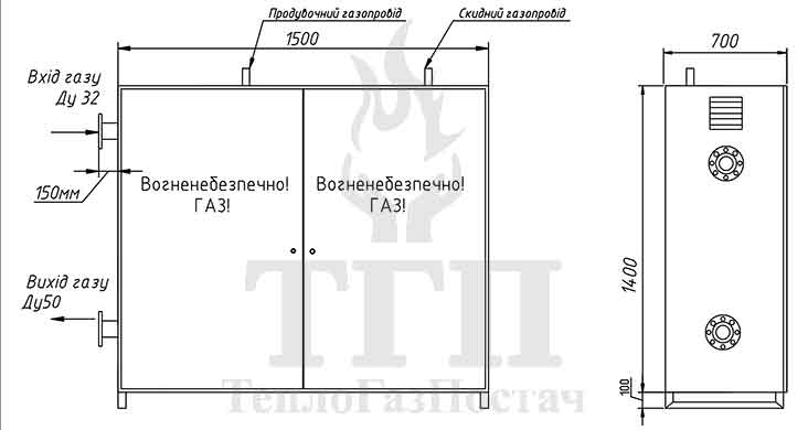 Габаритные размеры шкафного газорегуляторного пункта ШРП-1Б-R/25-GMS-G16-32