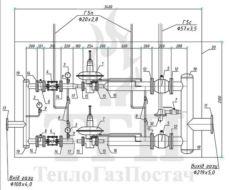 Принципиальная схема ШРП-2-Norval-495-100