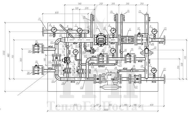 Схема принципиальная кинематическая ШГРП-1Б-01Б-В(Р)-FE50