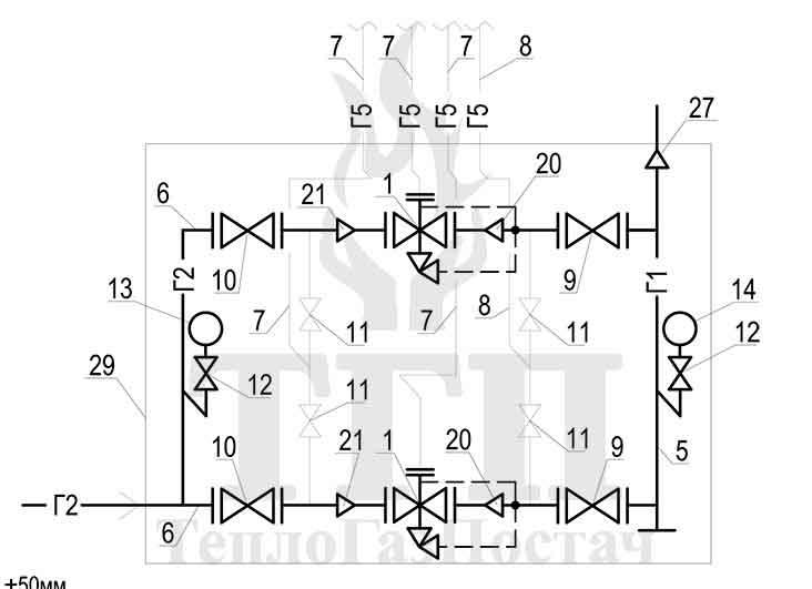 Принципиальная схема ШРП-2-P. Fiorentini-Dival-600-50